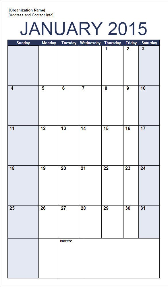 Sample Calendar Portrait Google Doc Template