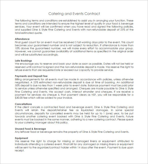 11 catering contract templates free word pdf for Event terms and conditions template
