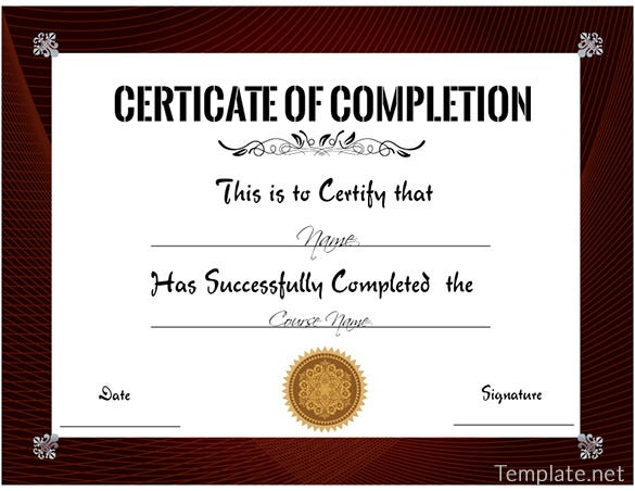 Free Training Completion Certificate Templates Images - template ...