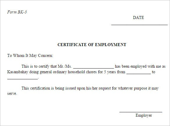 sample certificate of employment