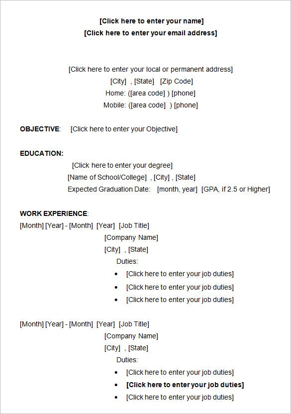 sample college resume templates - Resume Templates College Student