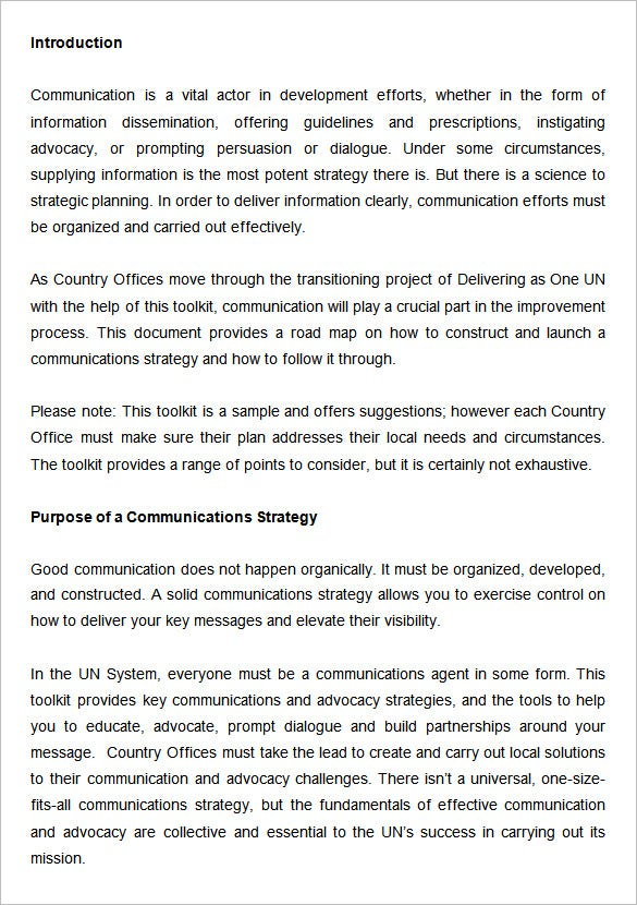 sample communications strategy template