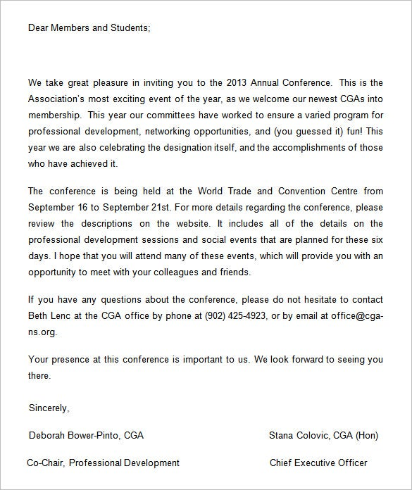 6 Conference Invitation Templates Free Word Documents Download – Formal Invitation Letter for Event