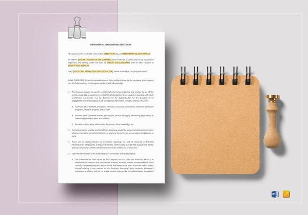 sample confidential information agreement template