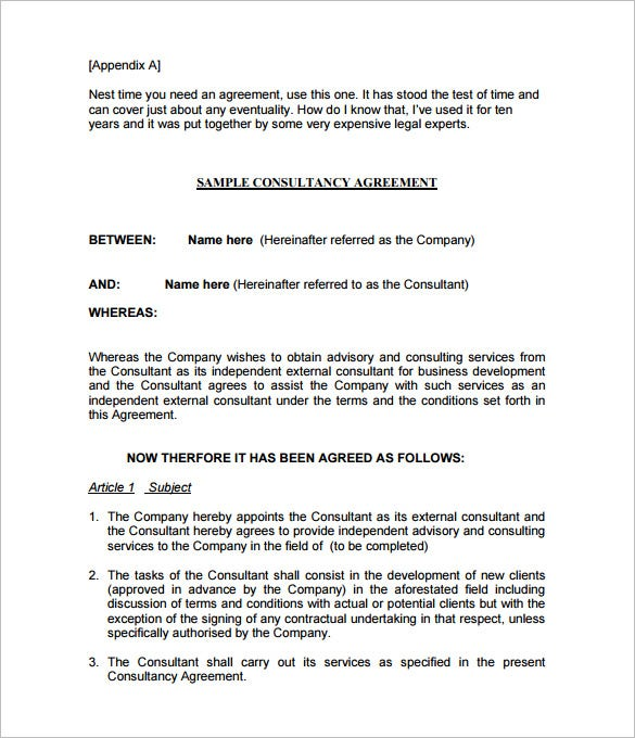sample consulting agreement contract pdf