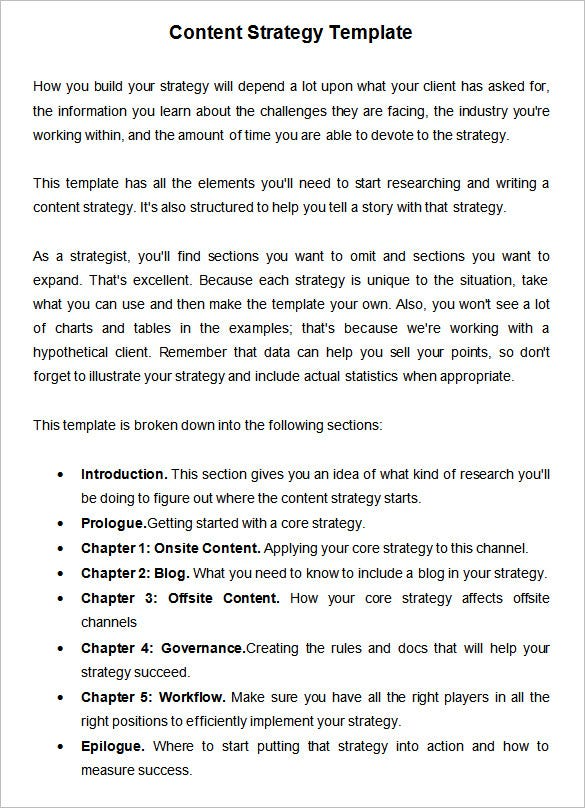 Content Strategy Template Free Word Excel PDF Documents - Content strategy template
