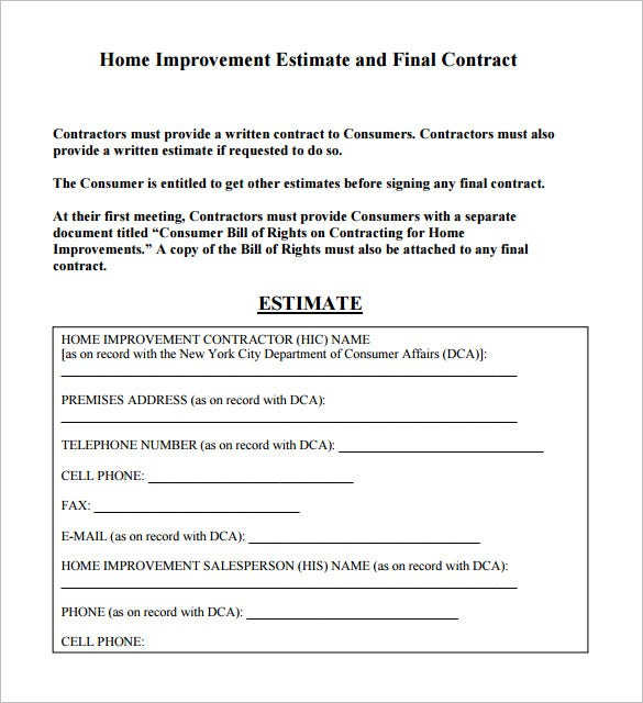 6+ Contractor Estimate Templates U2013 Free Word, Excel U0026 Pdf