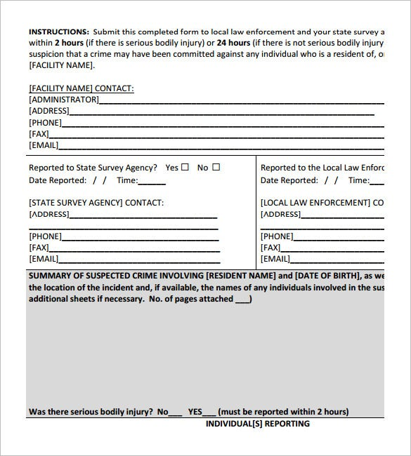 sample crime report form template