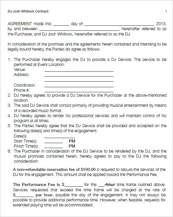 6 DJ Contract Templates Free Word PDF Documents Download – Performance Contract Template