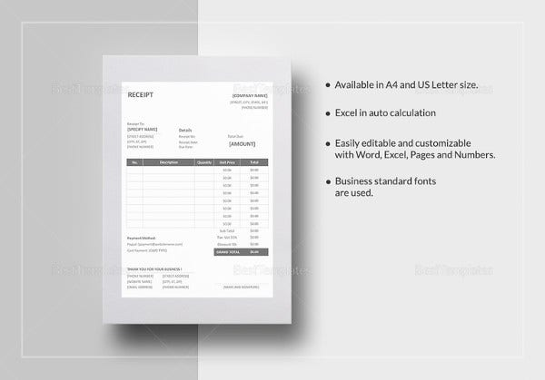 sample editable receipt template