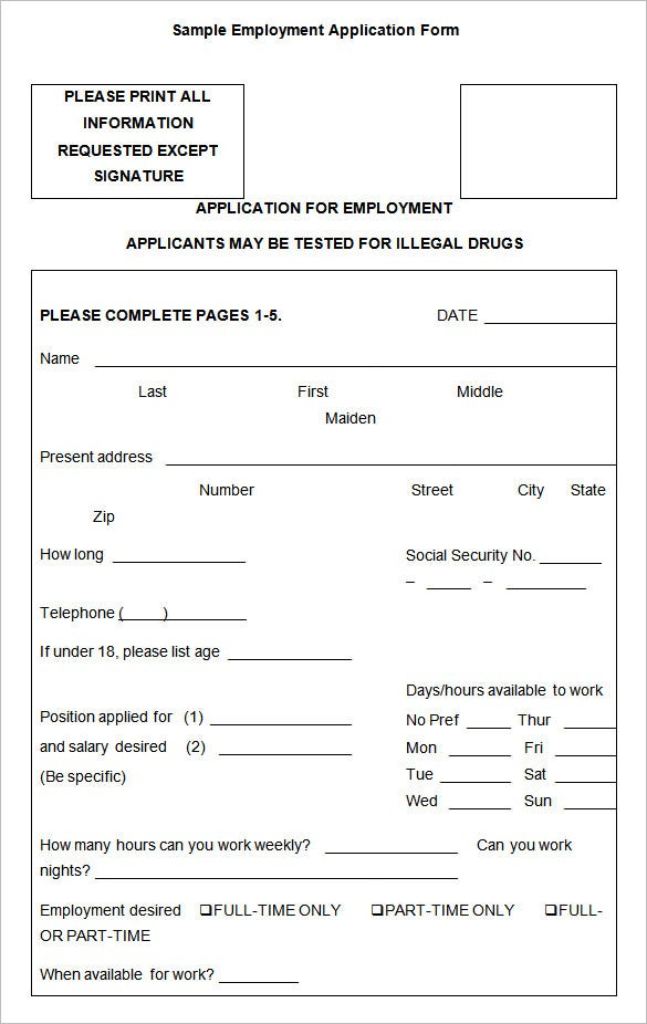 Sample Employment Application Form Download