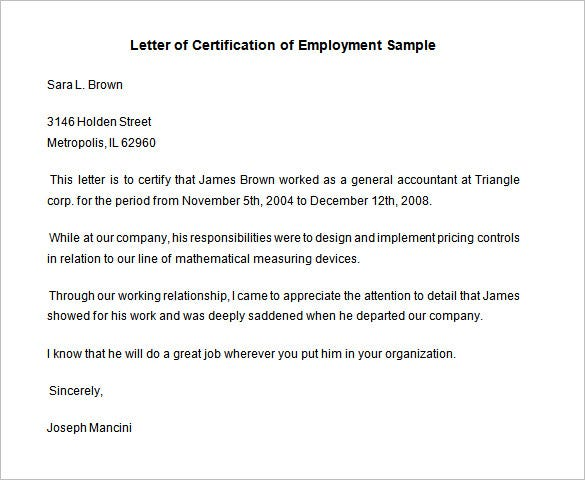 sample employment certificate from employer free