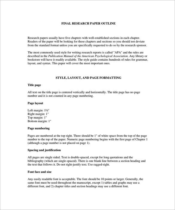 sample final research paper blank outline short version template