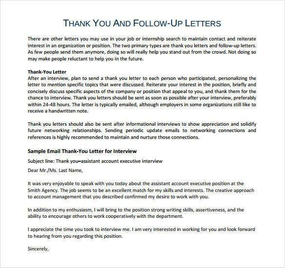 Sample Interview Thank You Letter Post Interview Thank You Letter