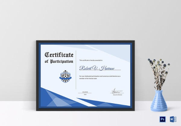sample football participation certificate template