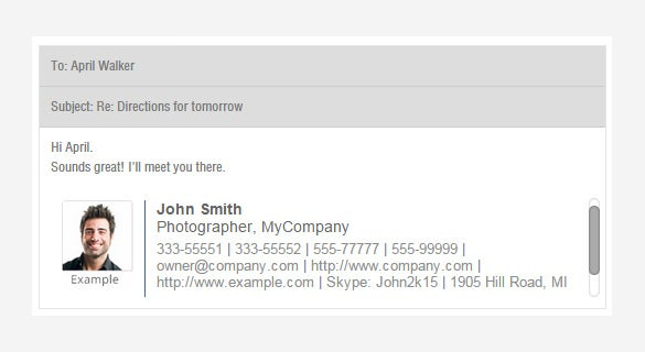 sample gmail email signiture template