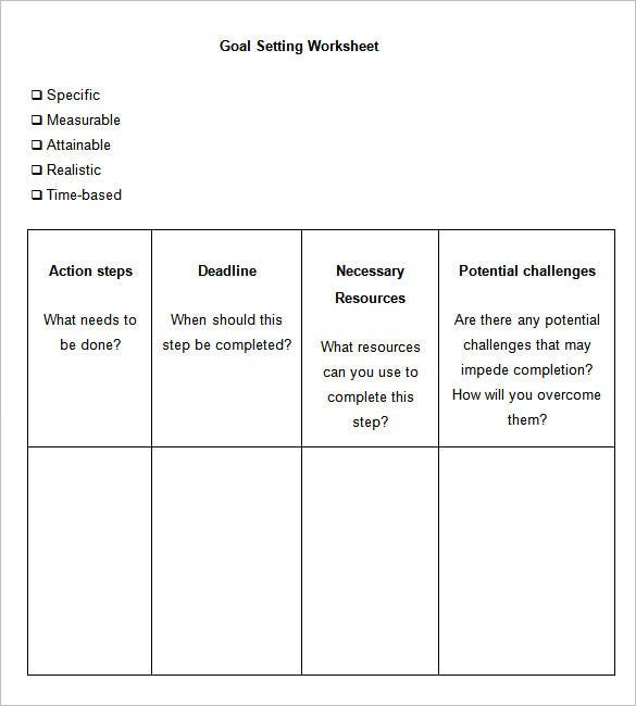 sample goal setting worksheet template download