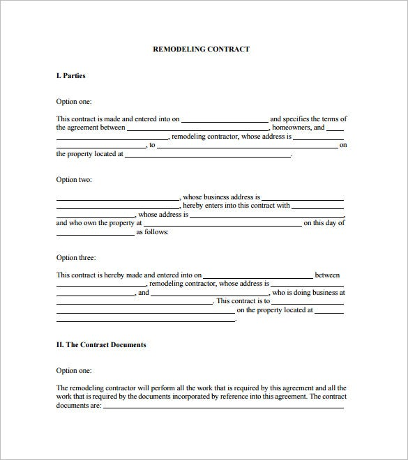 Home Remodeling Contract Template 7 Free Word PDF Documents – Simple Construction Contract Form