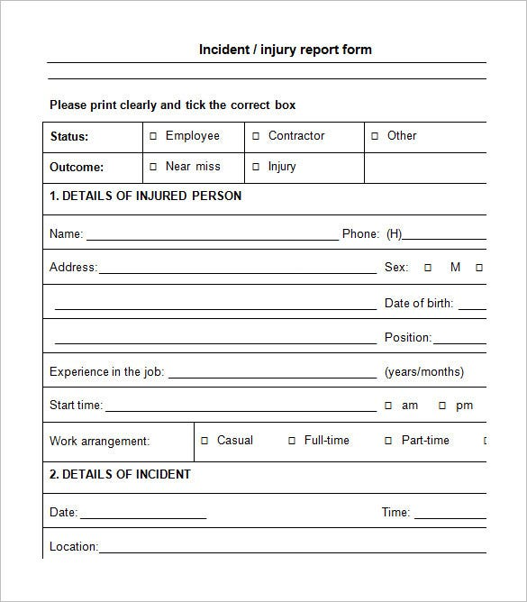 Incident Report Forms Form Injury And Illness Incident Report