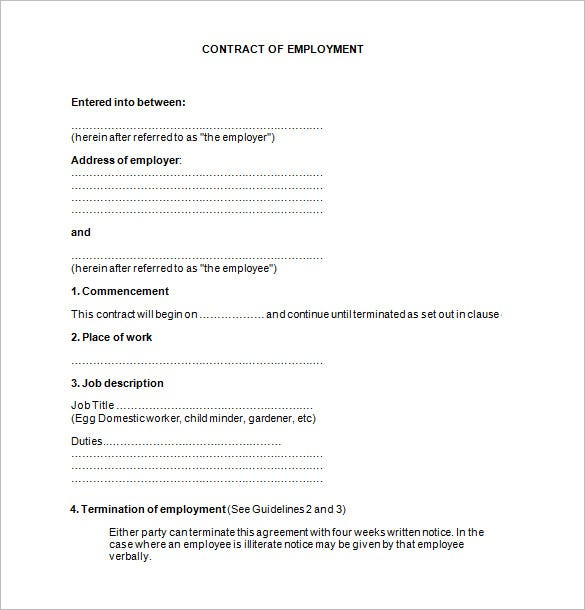 Job Contract Templates  Free Word Pdf Documents Download