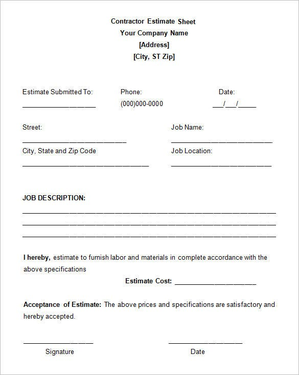 Work Estimate Template Free Basic Photography Estimate From – Job Estimate Sheet