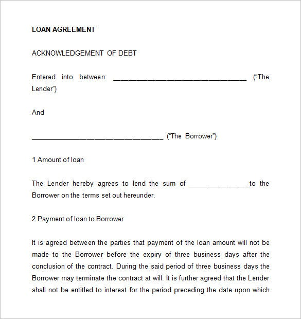 Loan Contract Template 20 Examples in Word PDF – Sample of Loan Contract