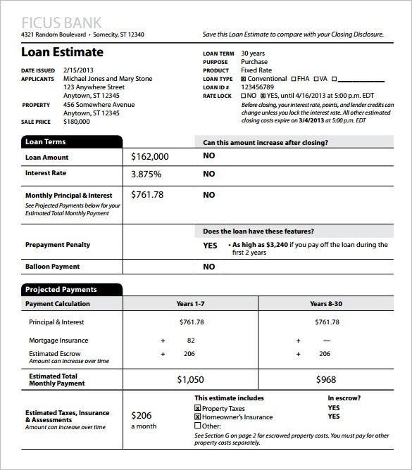 sample loan estimate template pdf download