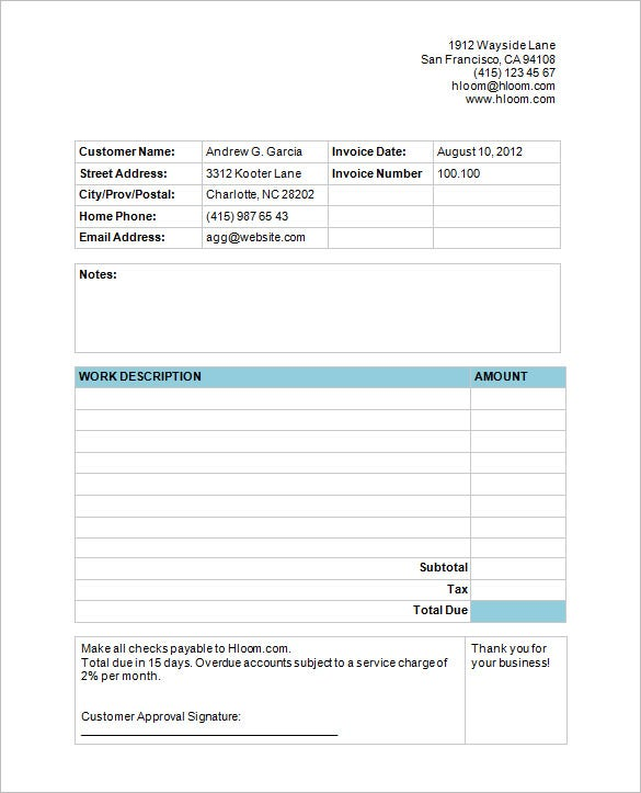 sample microsoft cleaning service invoice template