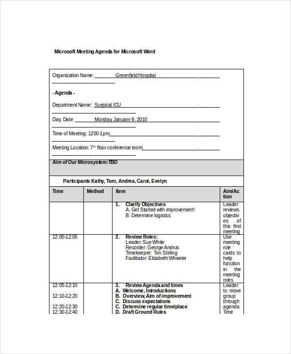 Microsoft Meeting Agenda Templates  Free Sample Example Format