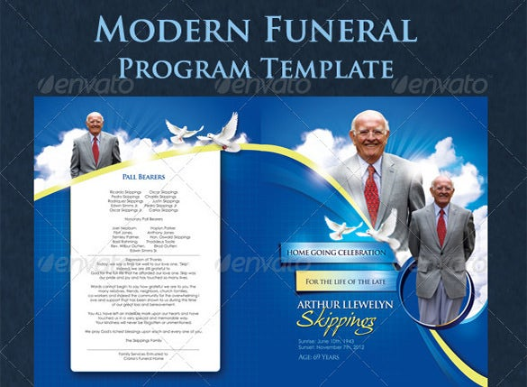 sample modern psd obituary template