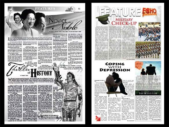 sample newspaper layout template in ppt