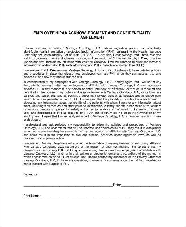 Patient Confidentiality Agreement Templates  Free Sample