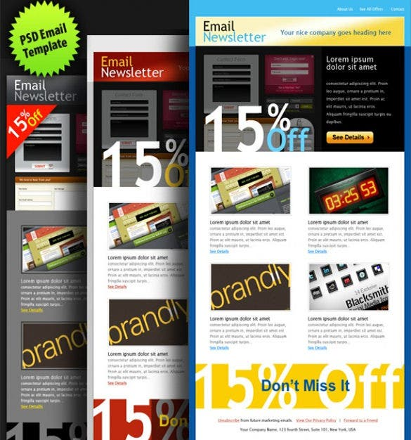 sample psd email template