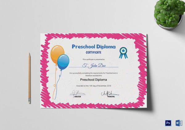 photo relating to Pre Kindergarten Diploma Printable called Preschool Certification Template - 16+ Absolutely free Term, PDF PSD