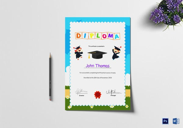 sample preschool diploma graduation certificate template