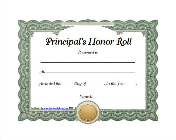 8  printable honor roll certificate templates  u0026 samples