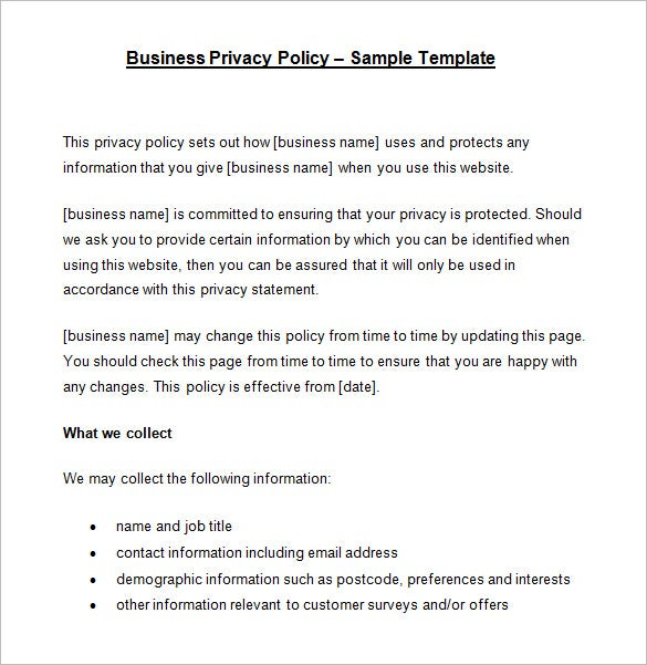7 Privacy Policy Templates Free Samples Examples Formats – Privacy Statement