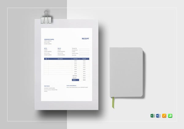 sample receipt template format