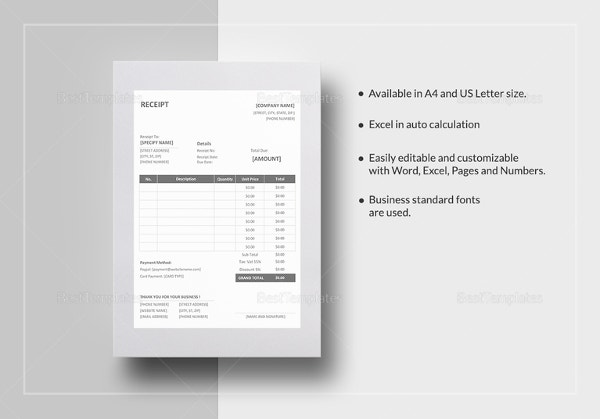 Receipt Template 199 Free Sample Example Format Download – Sample Receipts Templates