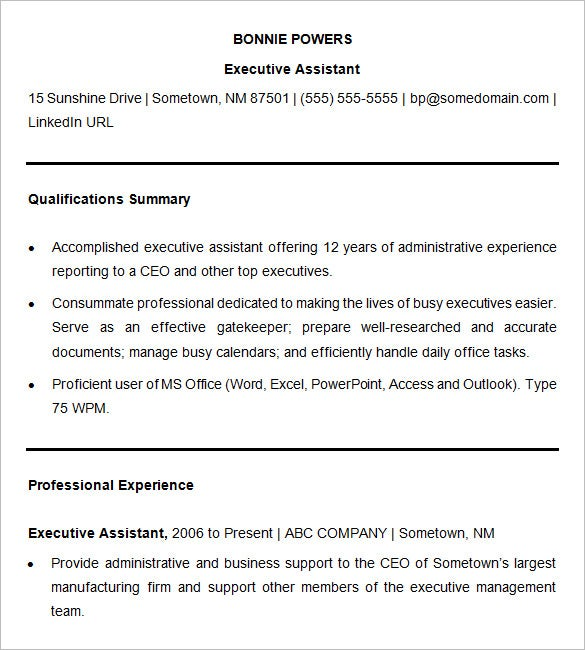 sample resume executive assistant1