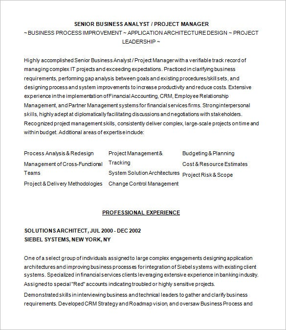 business analyst resume objective technical analyst resume