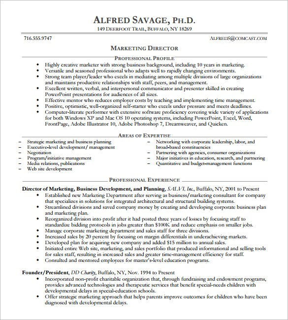Beau Sample Resume For Marketing Director