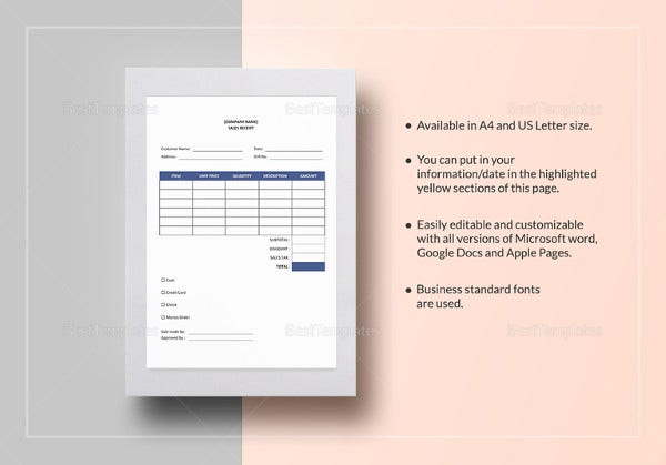 sample sales receipt word template
