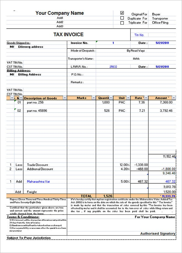 Tax Invoice Template Excel Free Download  Invoice Style