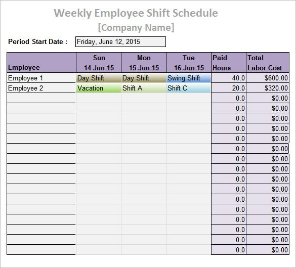 Sample Weekly Work Shift Schedule Template