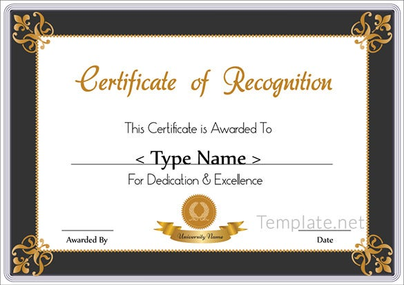 Elegant Sample Recognition Certificate Idea Certificate Of Recognition Samples