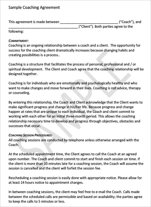 Coaching Contract Template 4 Free Word PDF Documents