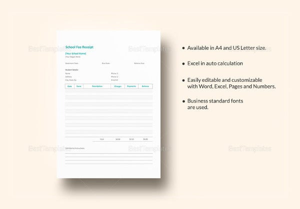school fee receipt template in ipages