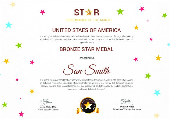 Bronze star certificate template free certificate template 46 adobe illustrator documents yadclub Gallery