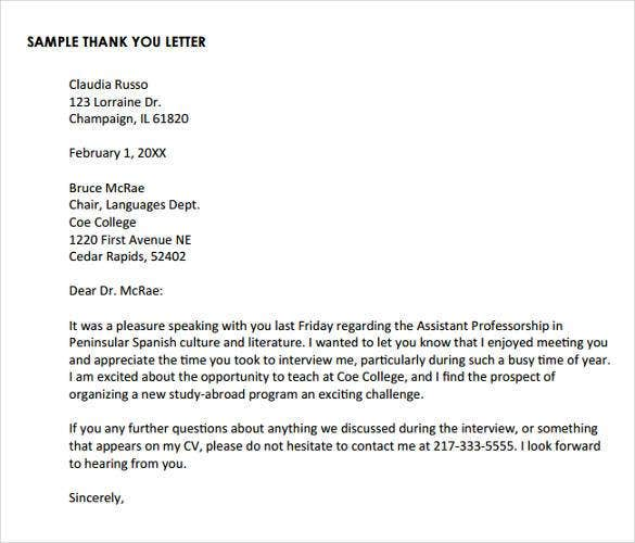 Thank You Letter After Phone Interview - 15+ Free Sample, Example